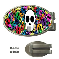 Skull Background Bright Multi Colored Money Clips (oval)