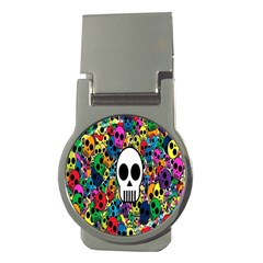 Skull Background Bright Multi Colored Money Clips (round)  by Simbadda