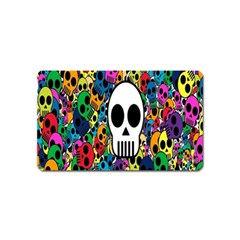 Skull Background Bright Multi Colored Magnet (name Card) by Simbadda