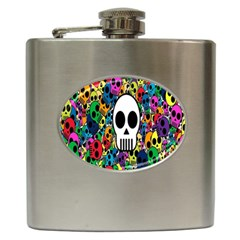 Skull Background Bright Multi Colored Hip Flask (6 Oz) by Simbadda