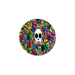Skull Background Bright Multi Colored Golf Ball Marker (4 Pack) by Simbadda