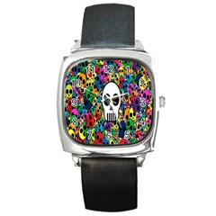 Skull Background Bright Multi Colored Square Metal Watch by Simbadda