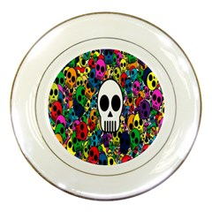 Skull Background Bright Multi Colored Porcelain Plates by Simbadda