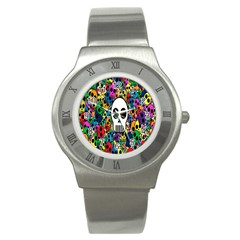 Skull Background Bright Multi Colored Stainless Steel Watch by Simbadda
