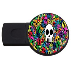 Skull Background Bright Multi Colored Usb Flash Drive Round (4 Gb) by Simbadda