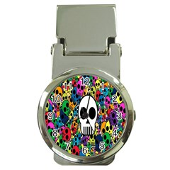 Skull Background Bright Multi Colored Money Clip Watches by Simbadda