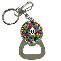 Skull Background Bright Multi Colored Button Necklaces by Simbadda