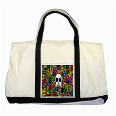 Skull Background Bright Multi Colored Two Tone Tote Bag by Simbadda
