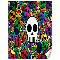 Skull Background Bright Multi Colored Canvas 36  X 48   by Simbadda