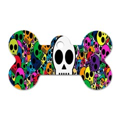 Skull Background Bright Multi Colored Dog Tag Bone (one Side) by Simbadda