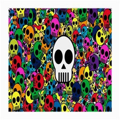 Skull Background Bright Multi Colored Medium Glasses Cloth (2 Side) by Simbadda