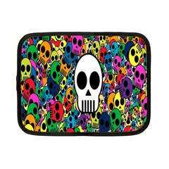 Skull Background Bright Multi Colored Netbook Case (small)  by Simbadda