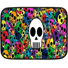 Skull Background Bright Multi Colored Fleece Blanket (mini) by Simbadda