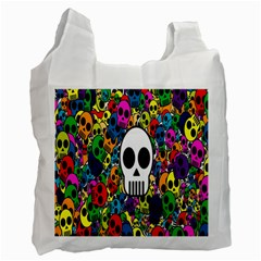Skull Background Bright Multi Colored Recycle Bag (one Side) by Simbadda