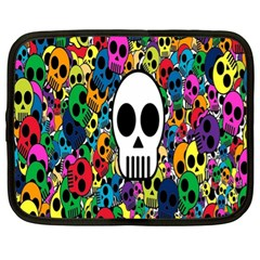 Skull Background Bright Multi Colored Netbook Case (xl)  by Simbadda