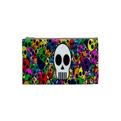 Skull Background Bright Multi Colored Cosmetic Bag (small)  by Simbadda