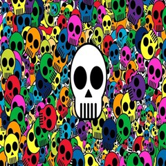 Skull Background Bright Multi Colored Magic Photo Cubes by Simbadda