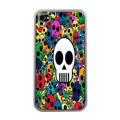 Skull Background Bright Multi Colored Apple Iphone 4 Case (clear) by Simbadda