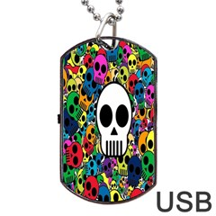 Skull Background Bright Multi Colored Dog Tag Usb Flash (one Side) by Simbadda