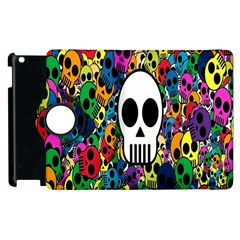 Skull Background Bright Multi Colored Apple Ipad 2 Flip 360 Case by Simbadda
