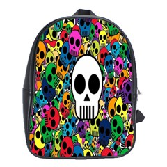 Skull Background Bright Multi Colored School Bags (xl)  by Simbadda