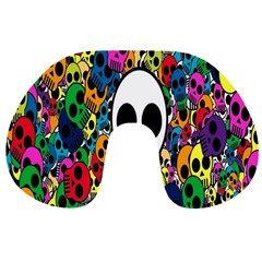 Skull Background Bright Multi Colored Travel Neck Pillows by Simbadda