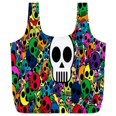 Skull Background Bright Multi Colored Full Print Recycle Bags (l)