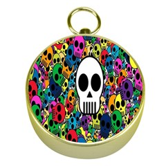 Skull Background Bright Multi Colored Gold Compasses by Simbadda