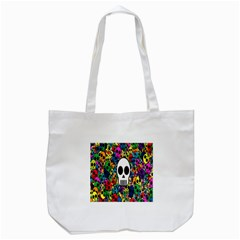 Skull Background Bright Multi Colored Tote Bag (white) by Simbadda