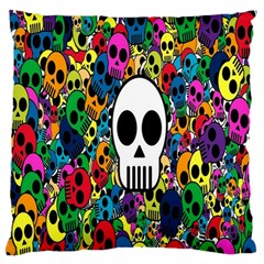 Skull Background Bright Multi Colored Large Flano Cushion Case (one Side) by Simbadda