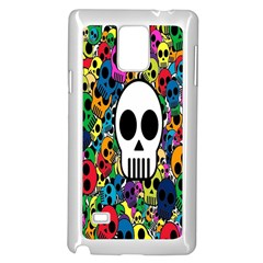 Skull Background Bright Multi Colored Samsung Galaxy Note 4 Case (white) by Simbadda