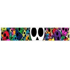 Skull Background Bright Multi Colored Flano Scarf (large)