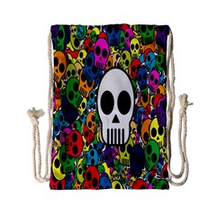 Skull Background Bright Multi Colored Drawstring Bag (small) by Simbadda