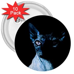 Blue Sphynx Cat 3  Buttons (10 Pack)  by Valentinaart