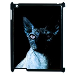 Blue Sphynx Cat Apple Ipad 2 Case (black) by Valentinaart