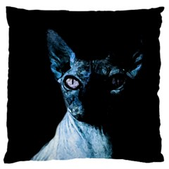 Blue Sphynx Cat Large Cushion Case (one Side) by Valentinaart