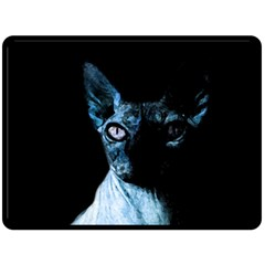Blue Sphynx Cat Double Sided Fleece Blanket (large)  by Valentinaart