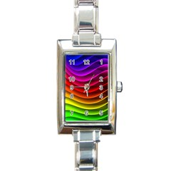 Spectrum Rainbow Background Surface Stripes Texture Waves Rectangle Italian Charm Watch by Simbadda