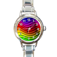 Spectrum Rainbow Background Surface Stripes Texture Waves Round Italian Charm Watch by Simbadda