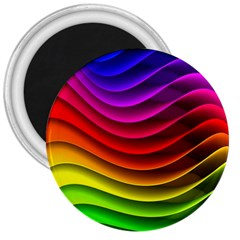 Spectrum Rainbow Background Surface Stripes Texture Waves 3  Magnets by Simbadda