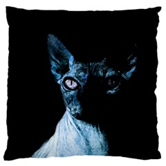 Blue Sphynx Cat Large Flano Cushion Case (one Side) by Valentinaart