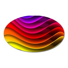 Spectrum Rainbow Background Surface Stripes Texture Waves Oval Magnet by Simbadda