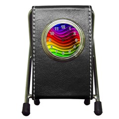 Spectrum Rainbow Background Surface Stripes Texture Waves Pen Holder Desk Clocks by Simbadda