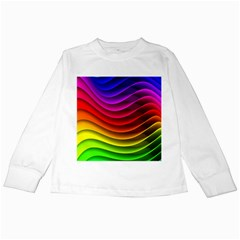 Spectrum Rainbow Background Surface Stripes Texture Waves Kids Long Sleeve T Shirts