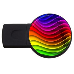 Spectrum Rainbow Background Surface Stripes Texture Waves Usb Flash Drive Round (4 Gb)