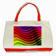 Spectrum Rainbow Background Surface Stripes Texture Waves Classic Tote Bag (red) by Simbadda