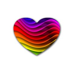 Spectrum Rainbow Background Surface Stripes Texture Waves Rubber Coaster (heart)  by Simbadda