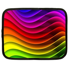 Spectrum Rainbow Background Surface Stripes Texture Waves Netbook Case (large) by Simbadda