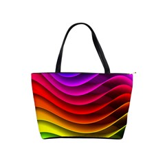 Spectrum Rainbow Background Surface Stripes Texture Waves Shoulder Handbags by Simbadda