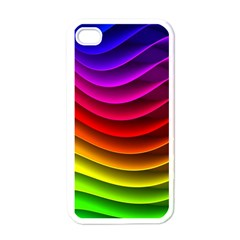 Spectrum Rainbow Background Surface Stripes Texture Waves Apple Iphone 4 Case (white) by Simbadda